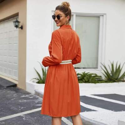 Fashion Lapel Long sleeve Skater Skirt Dresses