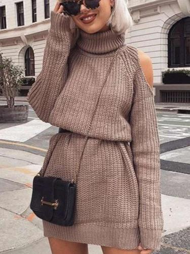Plus Off shoulder High collar Knit Shift Dresses