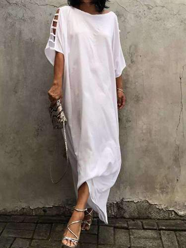 Casual Loose Pure Plus Round neck Hollow out Maxi Dresses