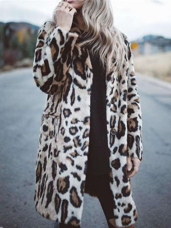 Fashion Leopaed print Plush Lapel Long sleeve Coats