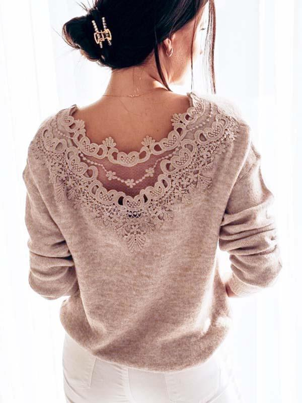 Women round neck lace back long sleeve T-shirts