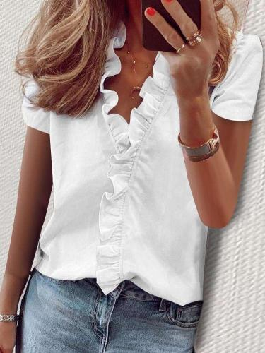 Fashion V neck Short sleeve Pure Falbala Blouses