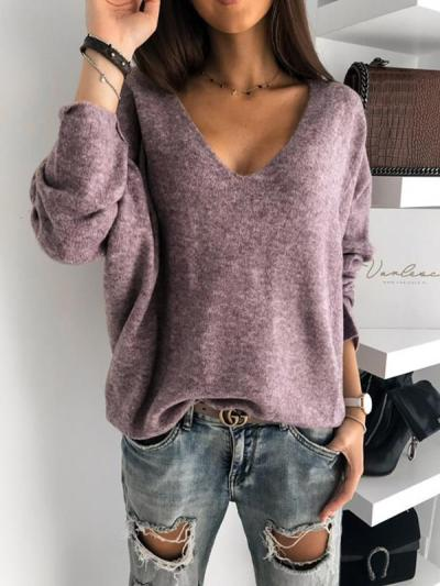Simple candy color v-neck pure long sleeve sweaters
