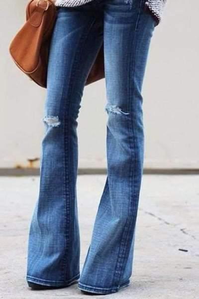 Broken Hole Bell Jeans Pants