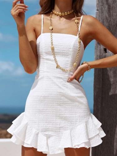 Fashion Backless Sleeveless Lacing Vest Skater Dresses