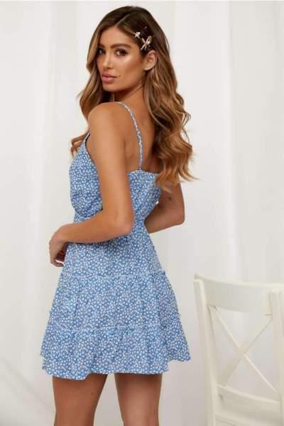 Fashion Print V neck Vest Lacing Shift Dresses