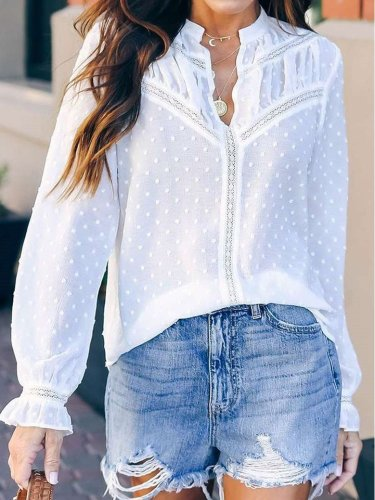 Pure Stand collar Long sleeve Blouses