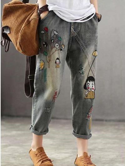 Casual Loose  Embroider Women Jeans Pants