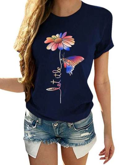 Daisy butterfly printed round neck short sleeve T-shirts