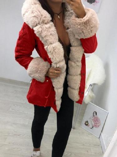 Faux Fur Collar Warm Coat In Long Solid Color Coats
