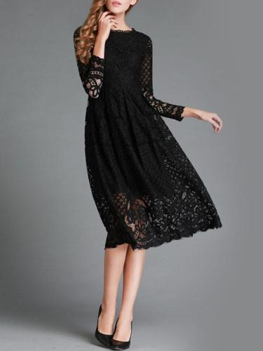 Spring Elegant Woman Lace Long Sleeve Round Neck Slim Skater Dresses