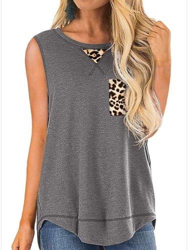 Casual Leopard Gored Irregular Sleeveless T-Shirts