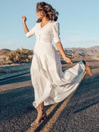 Women button plain v neck long vacation dresses