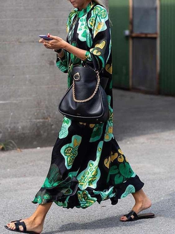 Fashion Print Falbala Round neck Long sleeve Maxi Dresses