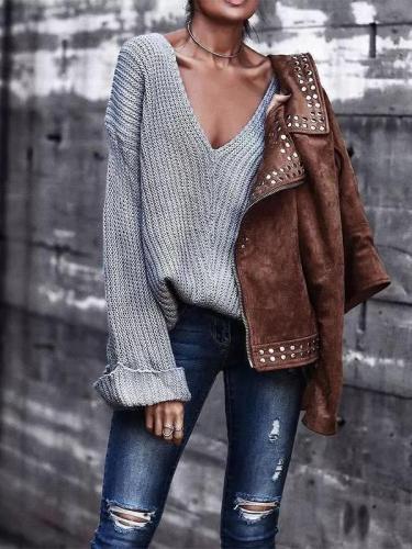 V Neck Long Flare Plain Knitting Fashion Sweaters