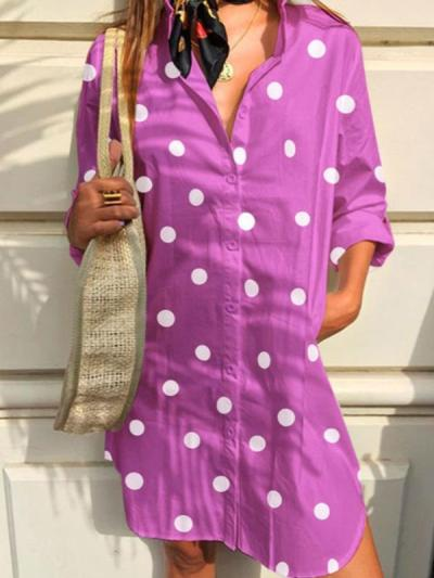 Small Lapel Dots Printed Casual Blouses