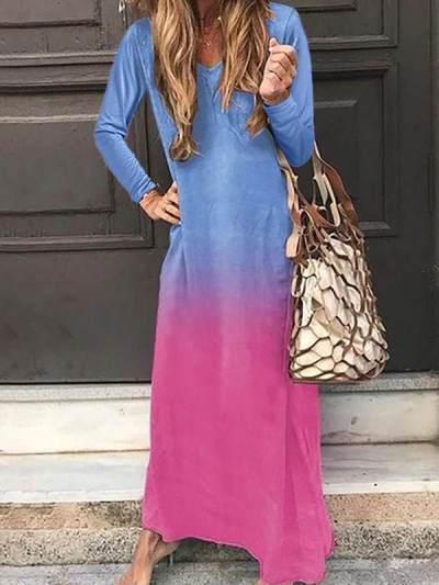 Women Long sleeved v-neck colored maxi dresses