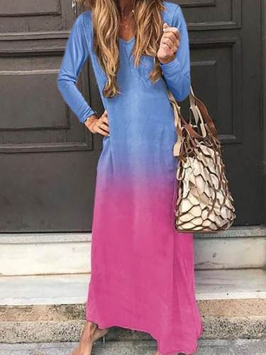 Women Long sleeved v-neck colored maxi dresses