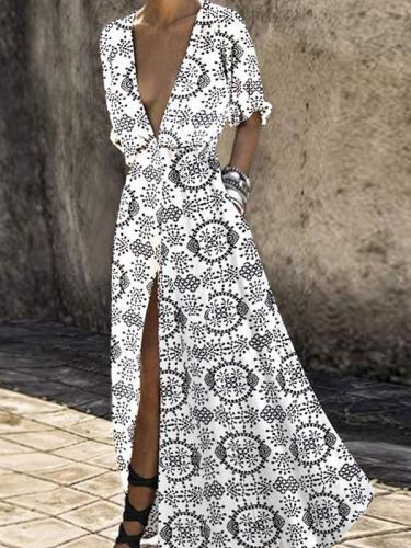 Sexy print deep v slit high waist maxi dress