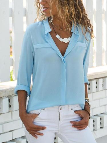 Plain Long Sleeve Woman Turn down collar Blouses