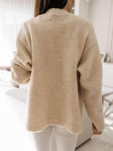 Fashion Pure V neck Long sleeve Knit Fastener Cardigan