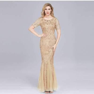 Fashion Round neck Short sleeve Fishtail Evening Dresses