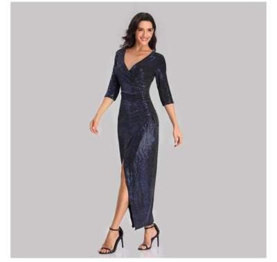 Fashion Paillette Three quarter sleeve V neck Evening Dresses