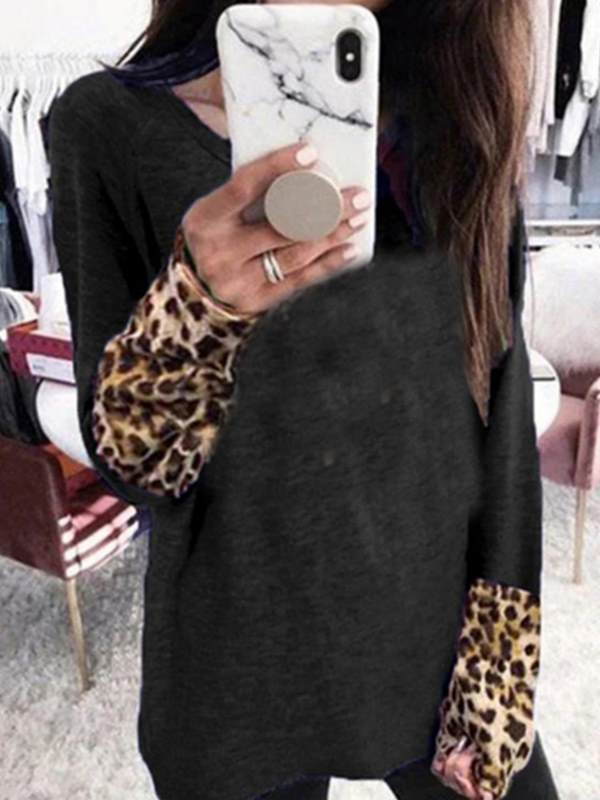 Casual round neck long sleeve leopard printed fashion T-shirts