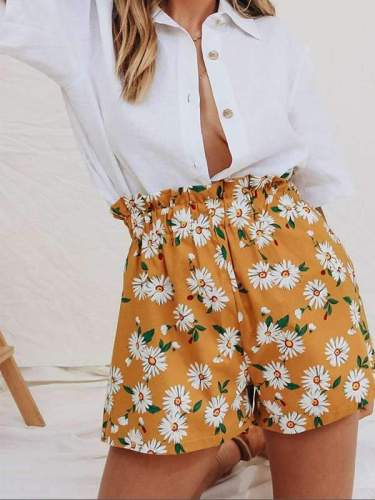 Women chiffon daisy printed shorts short pants
