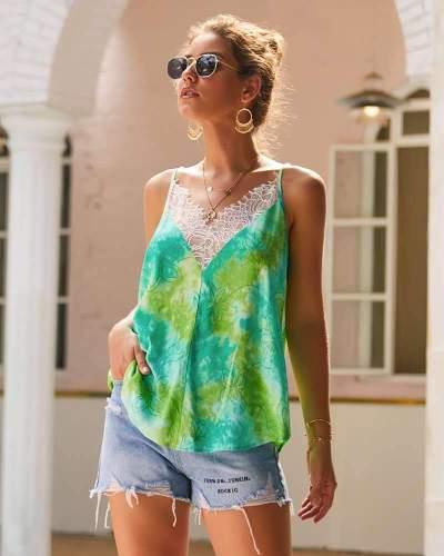 Fashion Print Lace  V neck Vests