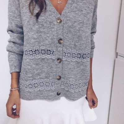 Fashion Hollow out Long sleeve V neck Cardigan