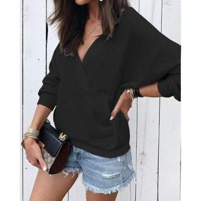 Fashion Pure V neck Long sleeve Sweatshirts