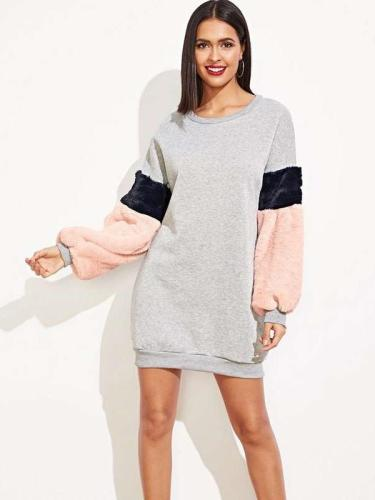 Fashion Casual Loose Round neck Gored Long sleeve Plush Shift Dresses