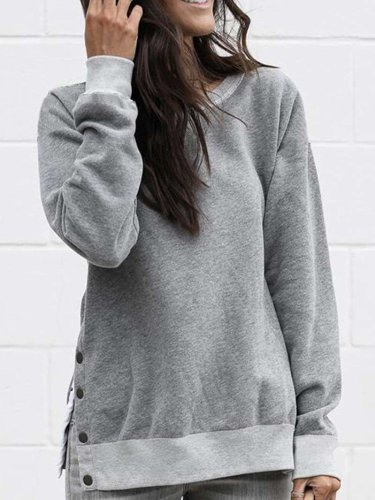 Fashion Round neck  Fastener Long sleeve Sweatshirts