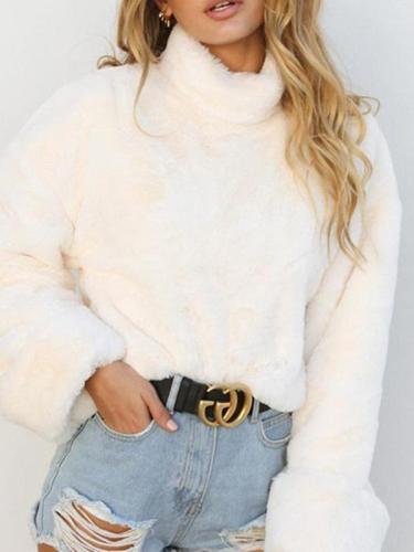 White High Collar Plain Sweatshirts