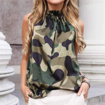 Fashion Print Sleeveless Lacing Round neck T-Shirts
