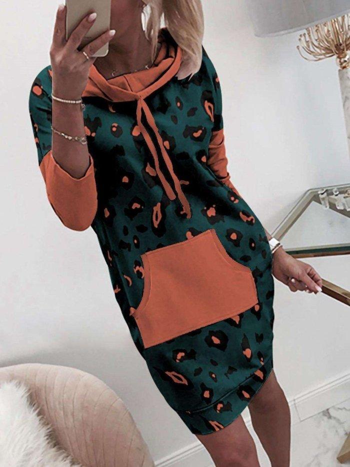 Fashion Sexy Leopard print Long sleeve Pocket Hoodies Long Sweatshirts