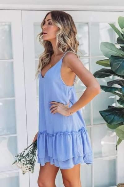 Sexy Loose V neck Vest Shift Dresses