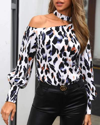 Leopard print Halter Off shoulder Long sleeve Blouses