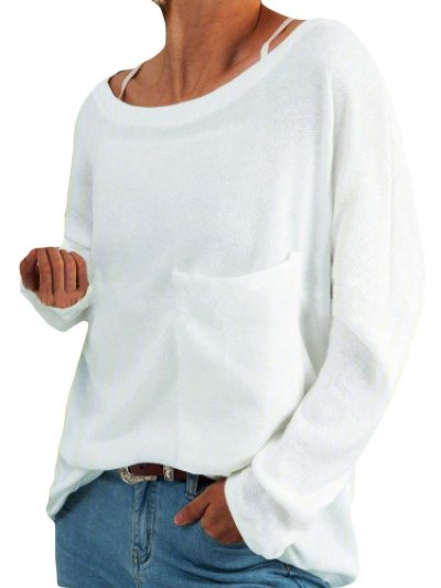 Fashion Casual Pure Round neck Long sleeve Pocket T-Shirts