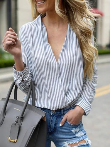 V-neck long sleeve pullover vertical stripes blouses