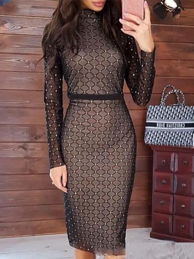 Sexy women grid diamante decoration long sleeve bodycon dresses