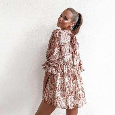Fashion Round nec Print Half sleeve Shift Dresses