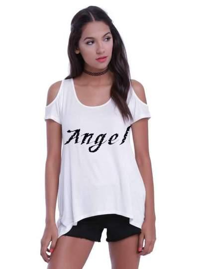 Plus Off shoulder Short sleeve Floral T-Shirts