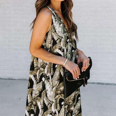 Fashion Print V neck Irregular Sleeveless Maxi Dresses