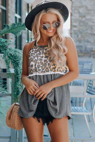 Casual Loose Print Gored Round neck Sleeveless T-Shirts