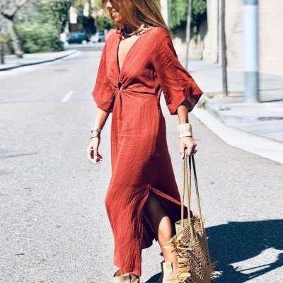 Fashion Casual V neck Pure Half sleeve Skater Dresses