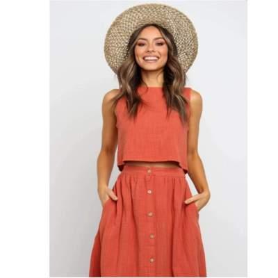 Fashion Fastener Round neck Piece suit Sleeveless Maxi Dresses