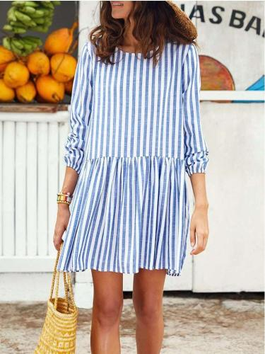 Casual Stripe Long sleeve Gored Shift Dresses