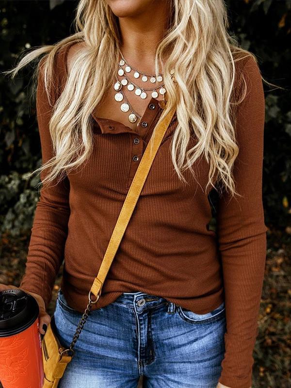 Women round neck button long sleeve plain T-shirts
